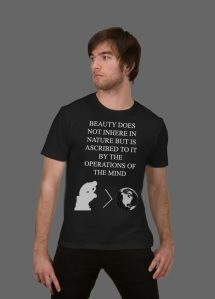 "A shirt: ""Beauty does not inhere in nature but is ascribed to it by the operations of the mind"""
